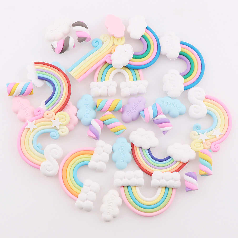 30PC Mix Polymer Clay Candy  Rainbow Cloud Christmas Tree Decor Hanging Ornament For New Year Xmas Party Kids Gift