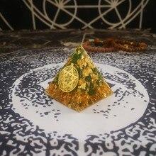 Orgonit Piramidi Doğal Yeşil Kristal Anahata Çakra Chamuel Tedavi Anksiyete Reçine Piramit Mücevher Dekorasyon El Sanatları