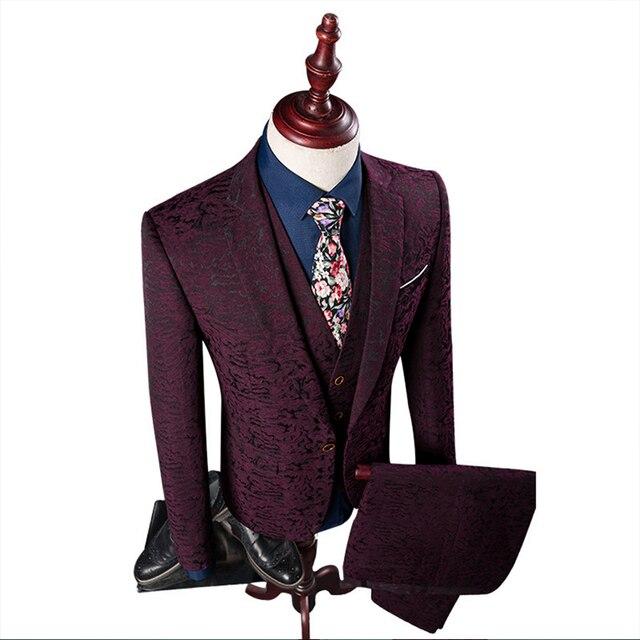 3 pieces Men Suit 2020 (Jacket+Pant+Vest) Set British Wine Red Slim Fit Men Suit Fashion Print One Button Tuxedo Dress Suits 4XL