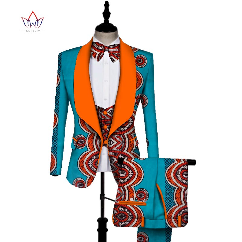 In Stock African Print 3 Pieces Men Sets Dashiki Top And Trouser & Vest Set Bazin  Plus Size Traditional African Clothing WYN431