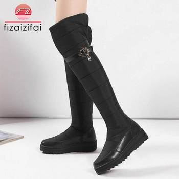 Coolcept Warm Cotton Boots Women Real Leather Plush Fur Women's Shoes snow Boots Over Knee Shoes Women Winter New size 35-44