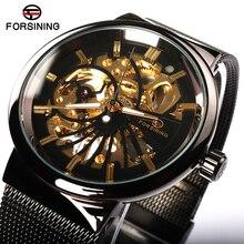 7ba59ad6bb8 FORSINING Relógio Esqueleto Homens Relógio Mecânico de Esqueleto do Ouro  Homem Mens Relógio Marca de Topo