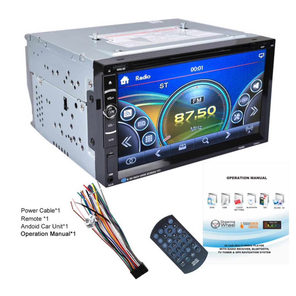 No Android 7in Double 2Din 800 * 480 Car Radio Universal  DVD Car Audio Car Stereo Auto USB Bluetooth Radio FM 45W*4 автомобильный dvd плеер joyous kd 7 800 480 2 din 4 4 gps navi toyota rav4 4 4 dvd dual core rds wifi 3g