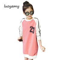 luoyamy Girls Autumn Dress Graduation Gowns Children's Patchwork Letter Printed Clothing Girls Party Sport Kids Princess Dresses