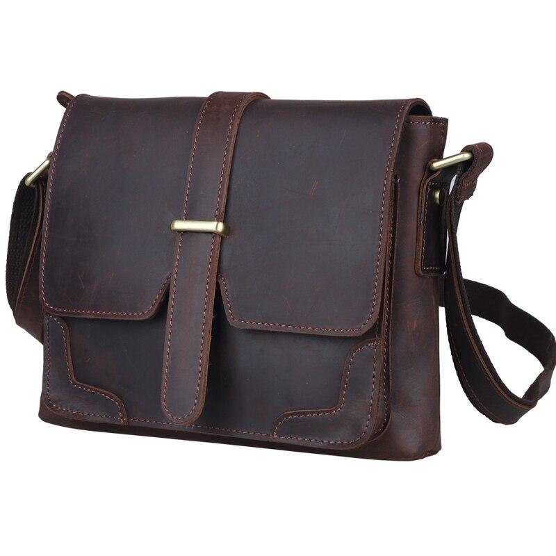 TIDING Unisex vintage style genuine leather messenger shoulder font b bag b font for font b