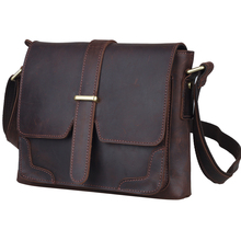 TIDING Unisex vintage style genuine leather messenger shoulder bag for women men New Autumn/Winter collection 11132
