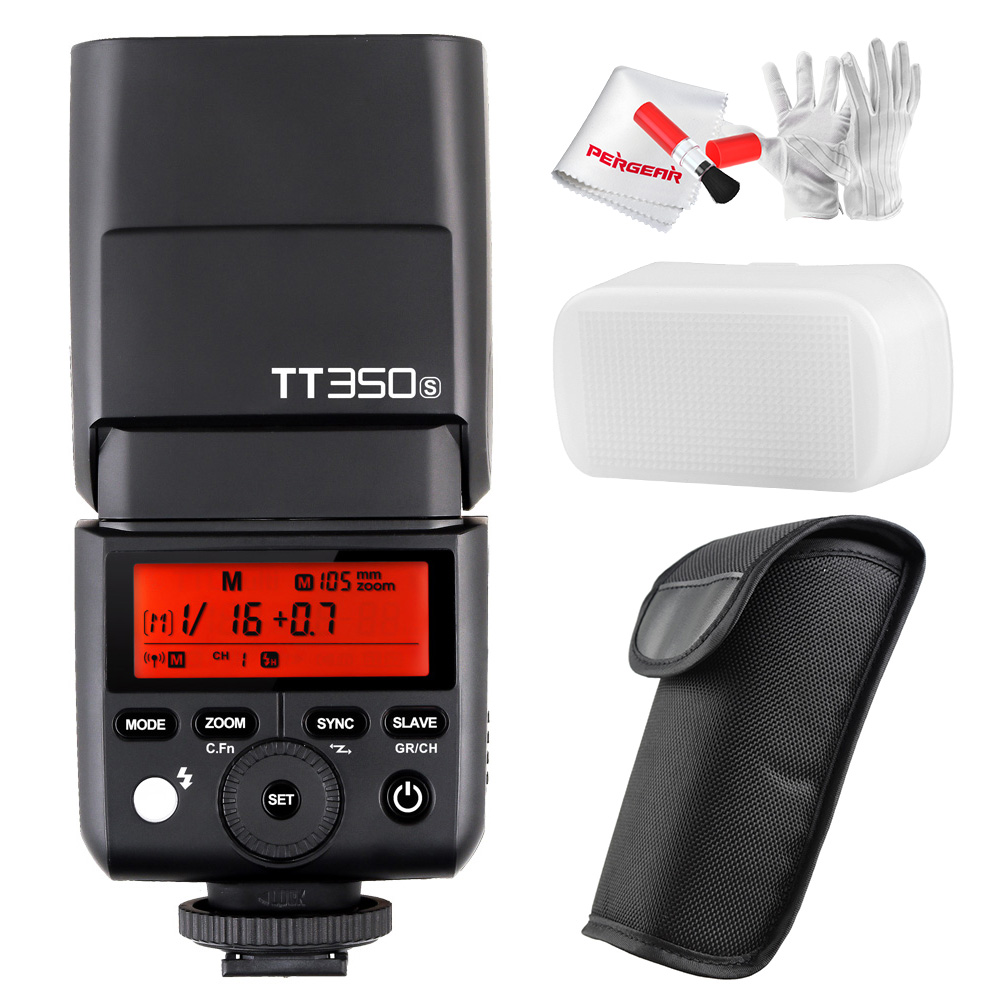 Godox TT350S TTL HSS 1/8000s 2.4G Speedlite Flash Light for Sony Mirrorless Camera a7RII a7R a58 a99 ILCE6000L a77I+Pergear Kit godox tt350s hss 1 8000s 2 4g speedlite flash light ttl for sony multi interface shoe camera a58 a99 ilce6000l a77ii a7rii a7r