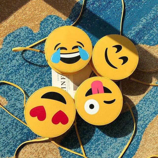 חמוד Emoji כתף שקיות נשים עור מפוצל שליח תיק בנות Crossbody תיק ילדים קטן עגול ילקוט תיקי לילדים מתנה