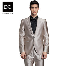 Tailor-made Shawl Collar Suit Men Wedding Suit Custom made fit Tuxedos 2 pieces(China)