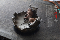 PINNY Smoke Backflow Incense Burner Lotus Child Buddhist Incense Holder Aroma Furnace Ceramic Censer Home Decor Smell Removing