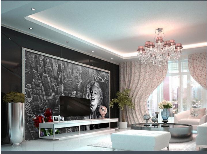 Купить с кэшбэком Customized photo wallpaper 3d TV wall papers murals city View Marilyn Monroe wallpaper for living room decoration