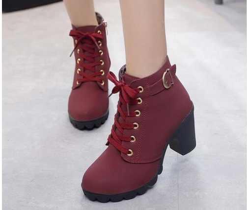 Sonbahar yeni yarım çizmeler Kadın Platformu Yüksek Topuklu Lace Up Toka Kayış Ayakkabı Kalın Topuk Kısa Çizme Bayanlar Fermuar Ayakkabı