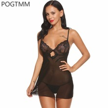 Baby Doll Lingerie Sexy Hot Erotic	Dress Women See Through Backless Hollow Out Sleepwear Female Lace Porno Chemise Sex Nightwear