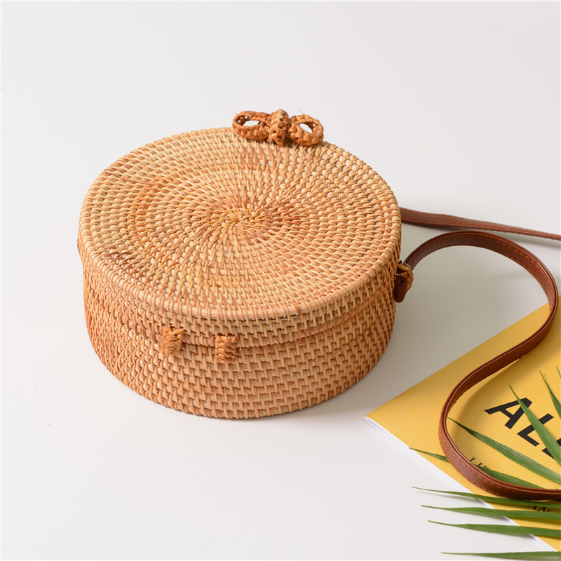 18 Round Straw Bags Women Summer Rattan Bag Handmade Woven Beach Cross Body Bag Circle Bohemia Handbag Bali 18