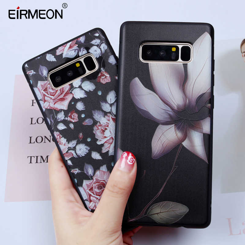EIRMEON For Samsung Galaxy Note 8 Case A5 2017 J4 J6 A6 Plus 2018 J3 J5 J7 2017 J2 Pro Soft TPU Silicon Flower Phone Back Covers