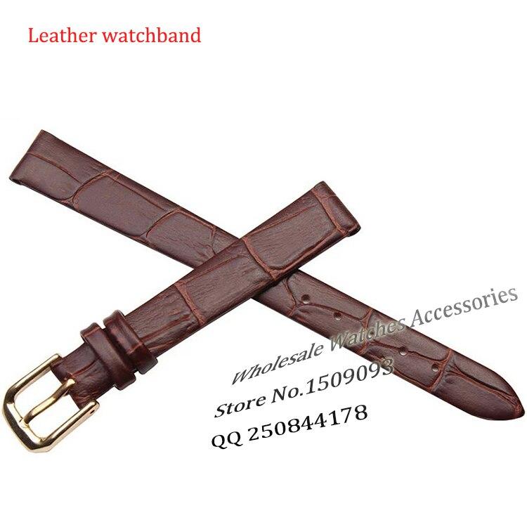 Ultra-dünnen Echtes leder armband uhr gurtband armbanduhren band 10mm 12mm 14mm 16mm Braun mit Gold stahl dornschließe