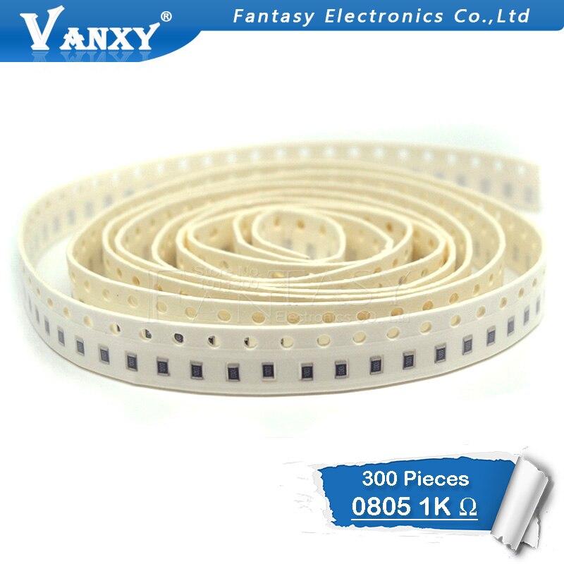 300PCS 0805 SMD Resistor 1% 1K Ohm  1/8W 102