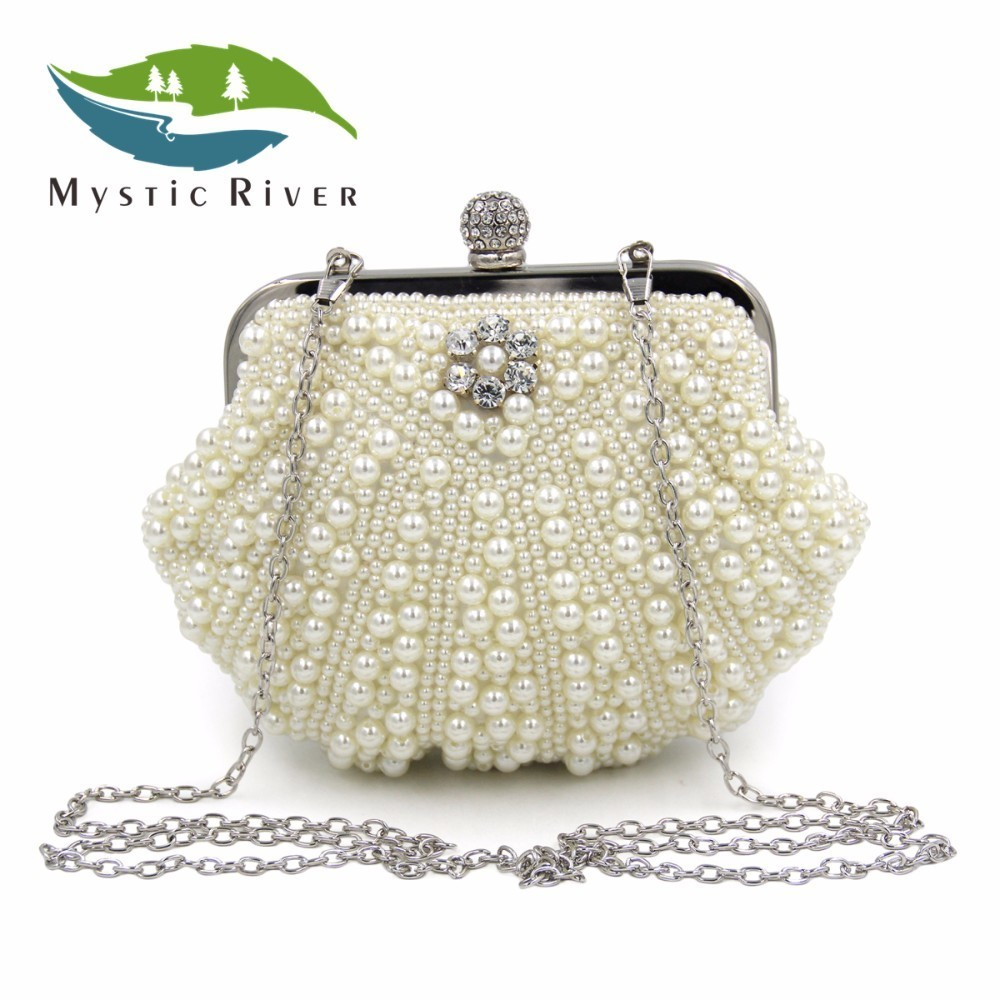 Mystic River Women Fashion Shell Shape Party Pearl Clutch Bag Rhinestone Cocktail Shoulder Evening Purse Handbag With Chain  mystic river designer pearl bags circle shape beaded clutches women wedding bag with chain lady evening clutch purse