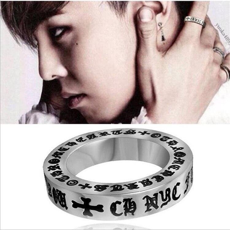 Bigbang KPOP BIGBANG Sanskrit Ring Shipping gratis Send Leather cord Packing boxes k-pop Men women unisex female Boy Girls Rings
