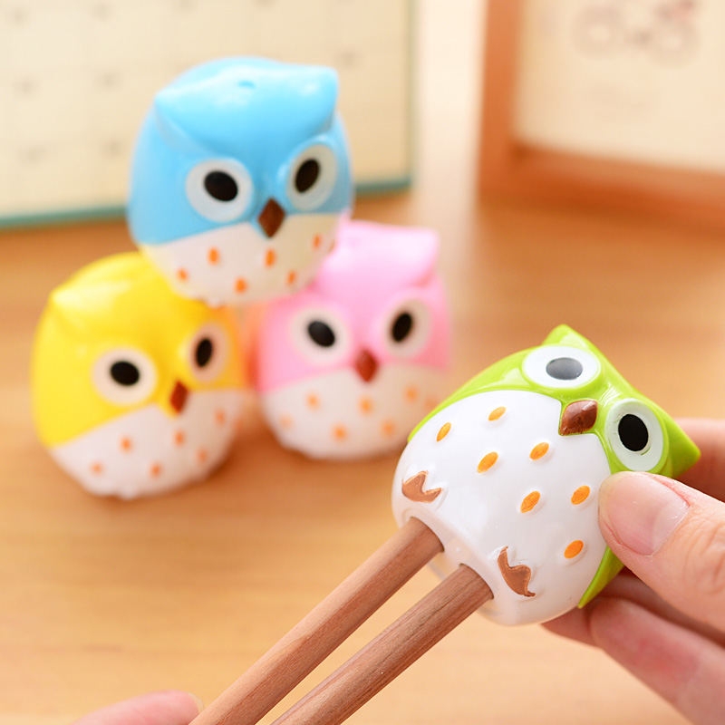 Cute Kawaii Cartoon Animal Owl Plastic Two Holes Pencil Sharpener For Kids Novelty Item School Supplies Stationery Puntenslijper