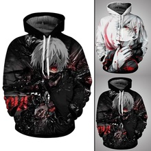 2018 New Fashion Anime Hoodies Tokyo Ghoul 3d Print Men/Women Hooded Sweatshirt Casual Pullovers Plus Size Drop Shipping