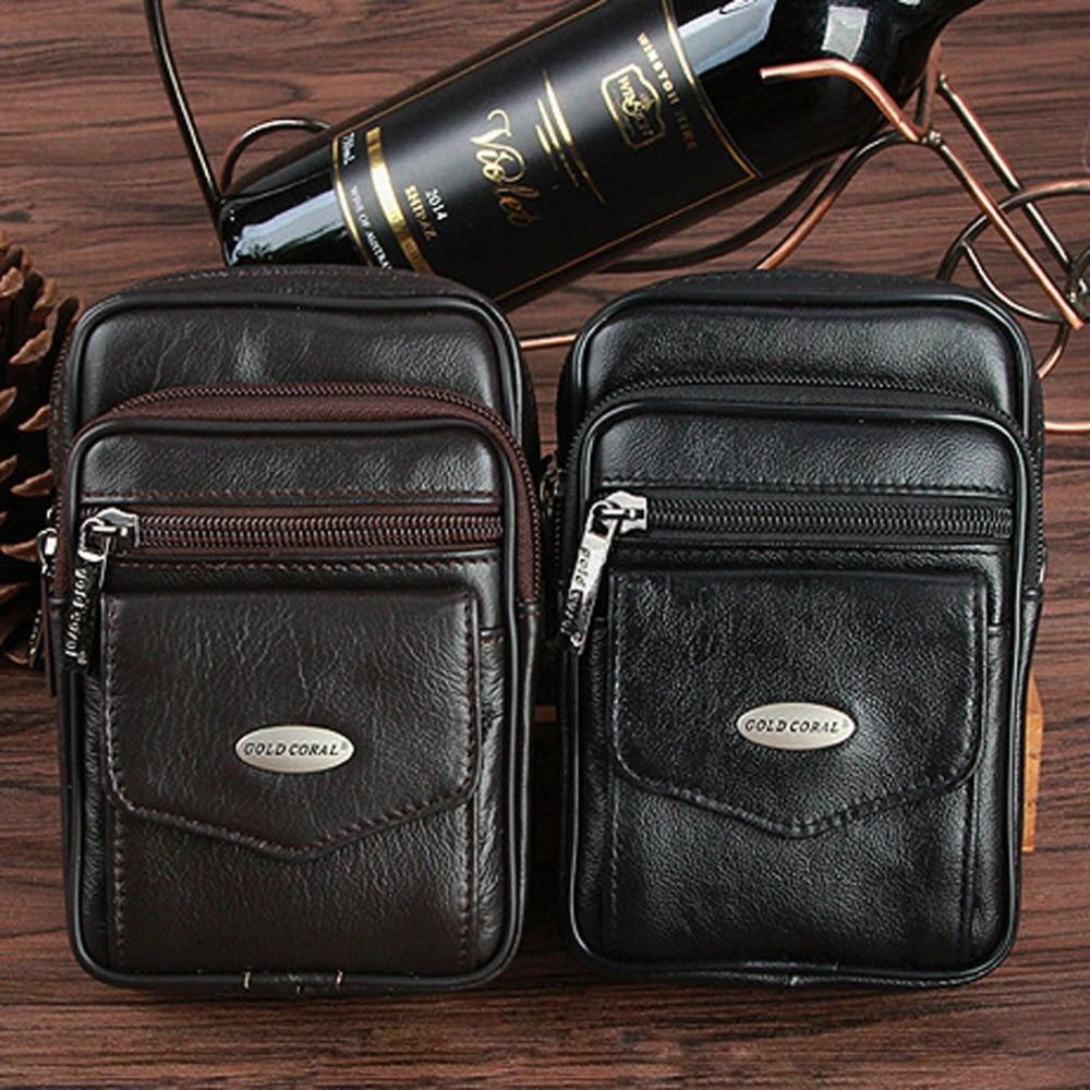 Men Genuine Leather Cowhide fashion Belt Fanny Waist Pack Bag Cell/Mobile Phone Case Coin Purse  Messenger Shoulder Bags