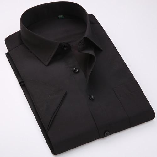 Men's Regular-fit Summer Short Sleeve Solid Classic Shirt Single Patch Pocket Formal Business Work Office Basic Dress Shirts 7