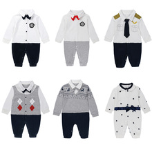 Baby Boy Clothes Gentleman Romper New Long Sleeve Jumpsuit Cotton Baby Clothing Infant Bow Tie Costume Handsome Baby Rompers
