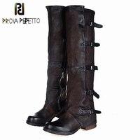 Prova Perfetto Новинка 2017 года женские ботфорты выше колена винтажные Зимние ботинки для верховой езды без каблука Обувь женские ботинки на платф