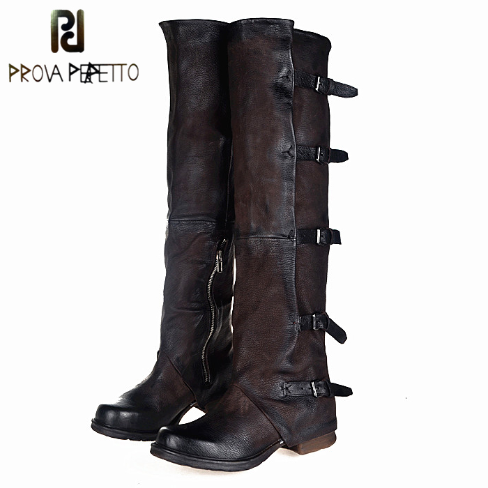 Prova Perfetto 2017 New Women Over The Knee Boots Vinatge Winter Riding Boots Flat Shoes Woman