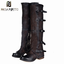 цены Prova Perfetto 2017 New Women Over The Knee Boots Vinatge Winter Riding Boots Flat Shoes Woman Platform Botas Zipper Buckle Boot