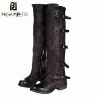 Prova Perfetto 2017 New Women Over The Knee Boots Vinatge Winter Riding Boots Flat Shoes Woman Platform Botas Zipper Buckle Boot