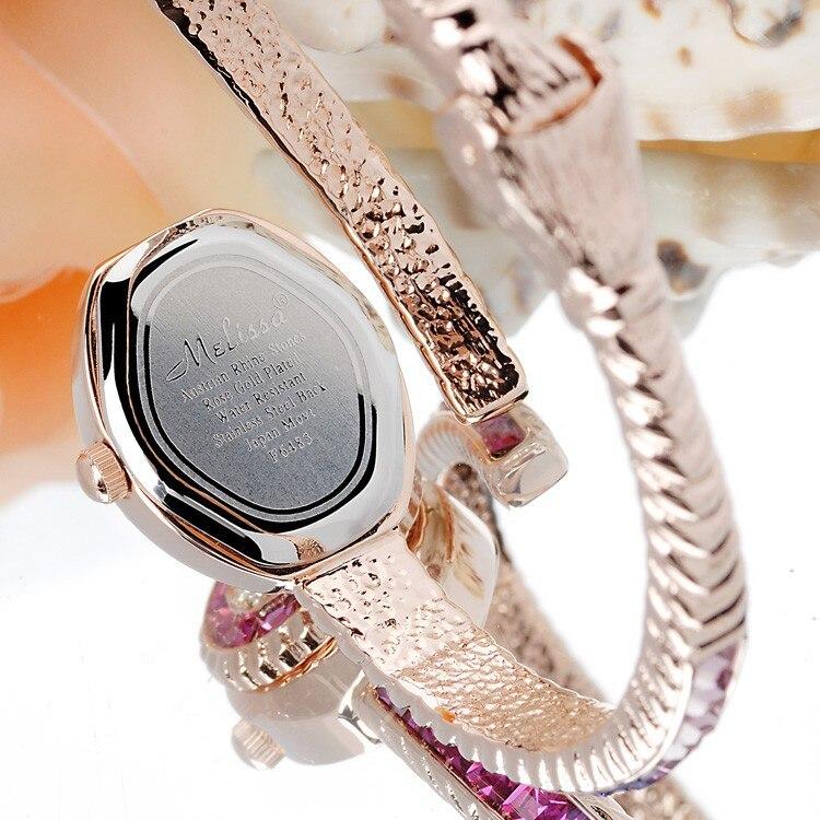 Mulheres Strass Relógios Pulseira de Luxo Melissa