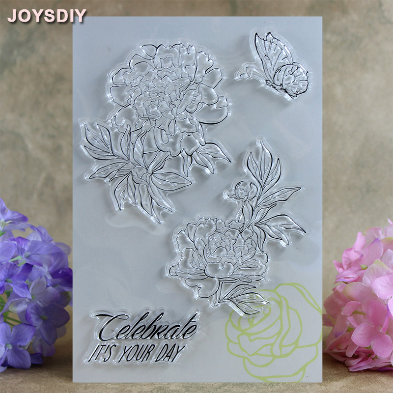 Celebrate It's Your Day Flower Scrapbook DIY photo cards account rubber stamp clear stamp transparent stamp card DIY stamp 16cm spider texture background scrapbook diy photo cards account rubber stamp clear stamp transparent stamp handmade card stamp
