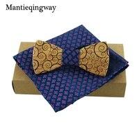Mantieqingway Madeira Bow Tie Mantas Mens Bowknot Bowtie Clássico Bolso Quadrado De Madeira Criativo Laços Conjuntos para Festa de Casamento