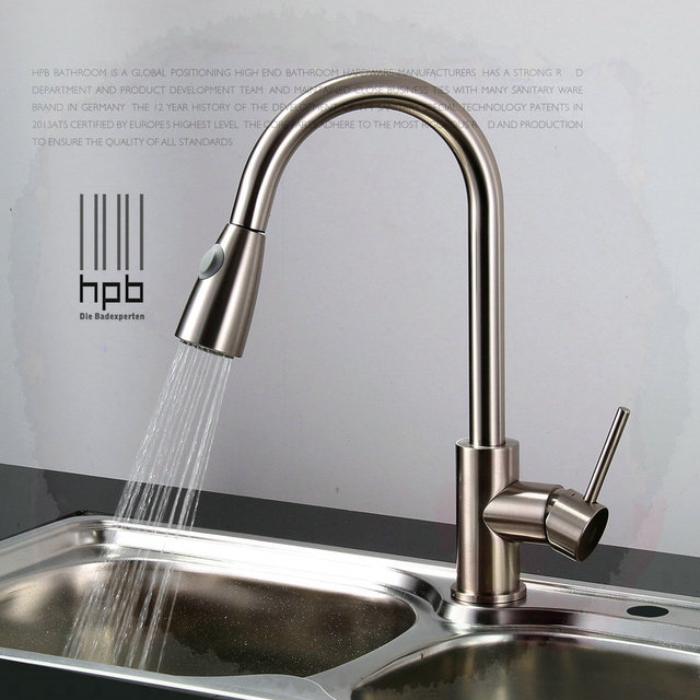 hot water kitchen sink brass sink mixer and cold water tap pull type 4331