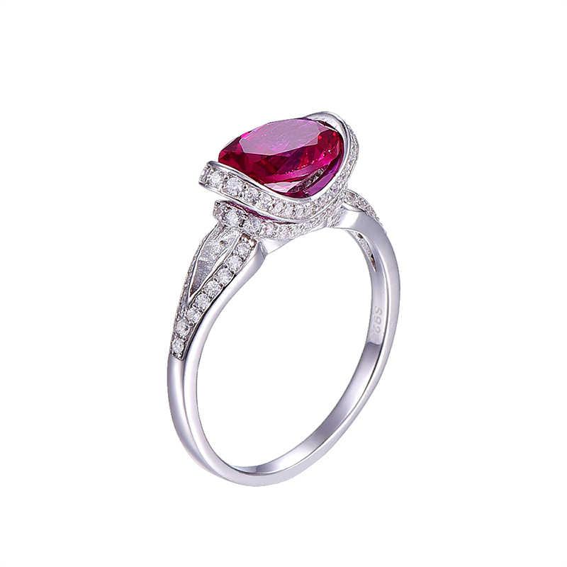 2ctเงินแท้925แหวนทองคำขาวชุบAAAคริสตัลบิ๊กรีทับทิมแหวนสำหรับผู้หญิงแต่งงานเจ้าสาวเครื่องประดับ