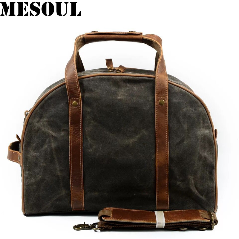 все цены на Waterproof Carry On Luggage Travel Bags Men Canvas Leather Duffle Bag Women Travel Tote Large Capacity Weekend Bag Overnight