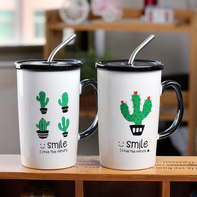 New Cactus Ceramic Straw Cup Straight Milk Coffee Mugs With Cover Boys And Girls Gifts Office Teacup