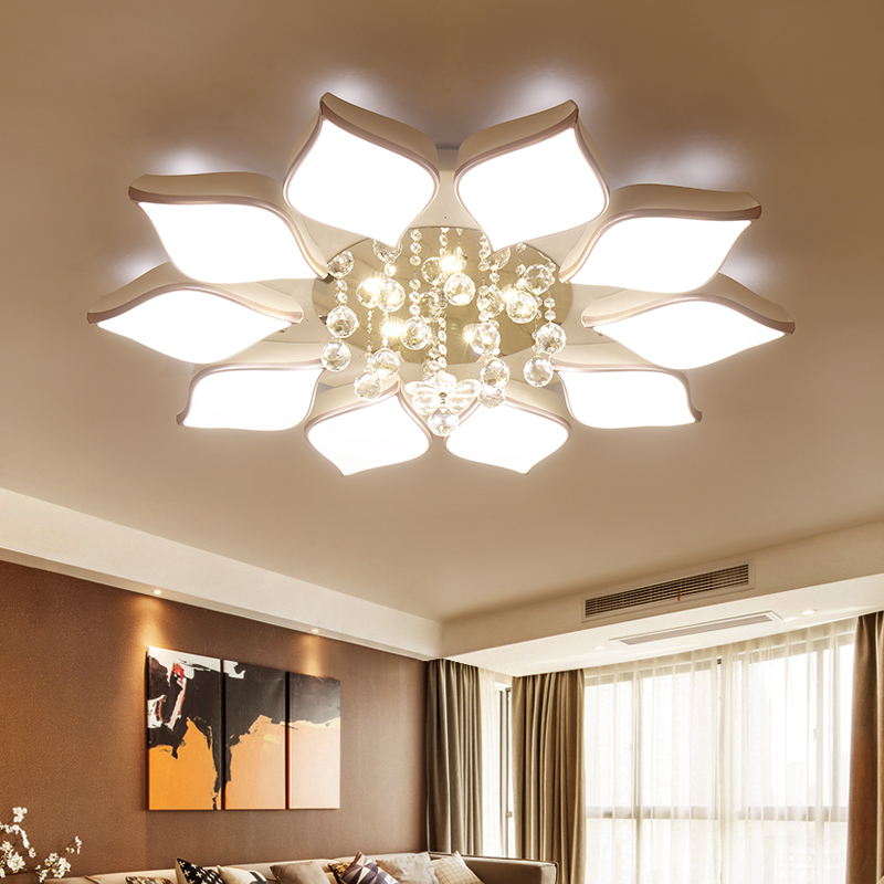 Crystal modern led ceiling lights for living room bedroom for Modern living room ceiling lights