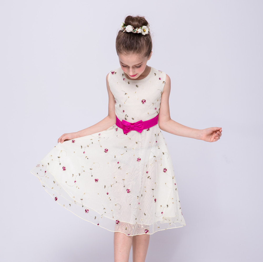 Kids Dresses For Girls Floral Print Sleeveless Princess Party Dress Summer 2017 Children Wedding Performance Dress 2 6  8 10 12Y 2017 girls summer spring dress children adorable princess dress adolescent kid party dresses 6 7 8 9 10 11 12 years kids clothes