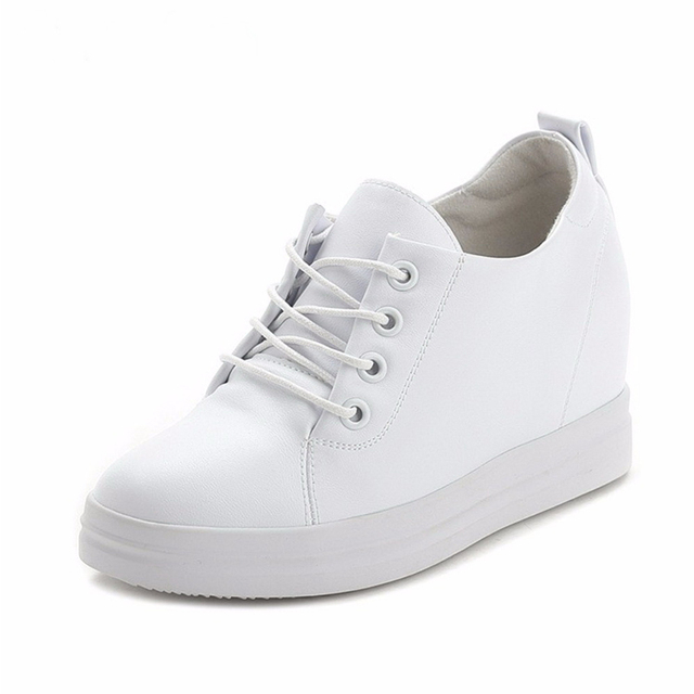 1551488e173 Comemore Women Sneakers New White Hidden Wedge High Heels PU Leather Lace Up  Ladies Platform Shoes