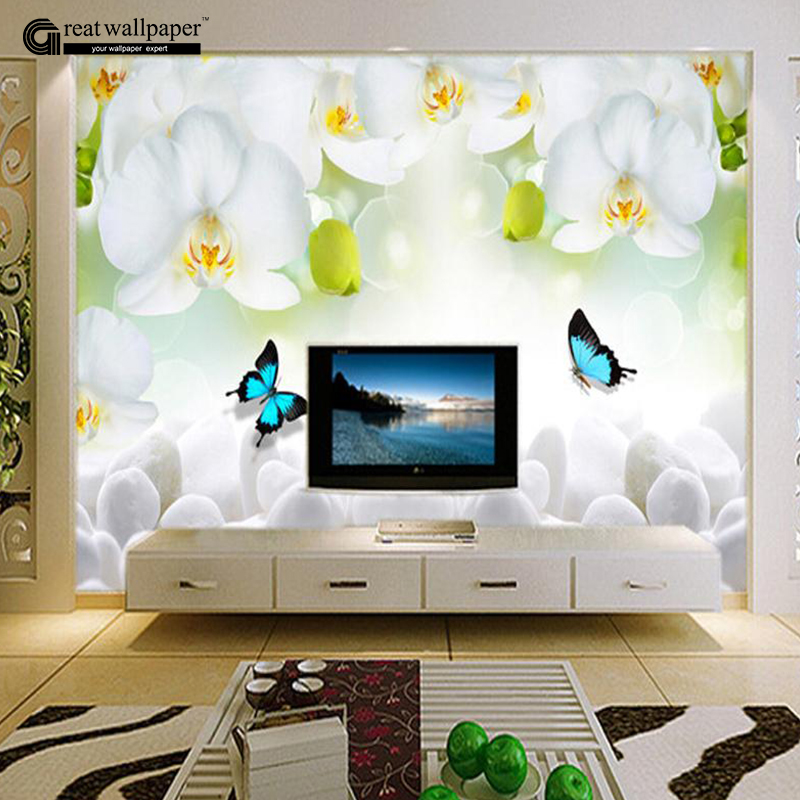3d white orchid butterfly flowers photo wall paper mural for Chinese wallpaper mural