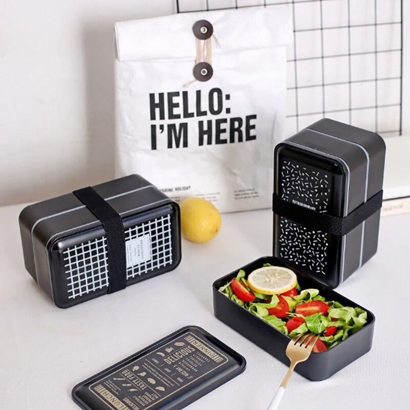 MICCK Mittagessen Box Doppel-Schicht Tragbare Bento box BPA FREI Lebensmittel Container Lagerung Mit Löffel Fächer Dicht Mikrowellen