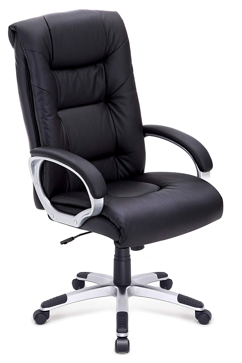 High-Back Executive Office Chair Faux Leather Large Seat Computer Chair Ergonomic Design Adjustable Seat Height WCG DE