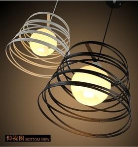 Image 4 - Простой железный спиральный подвесной светильник, абажур 32 см, черный/белый, для кухни, островного, столовой, ресторана, украшения