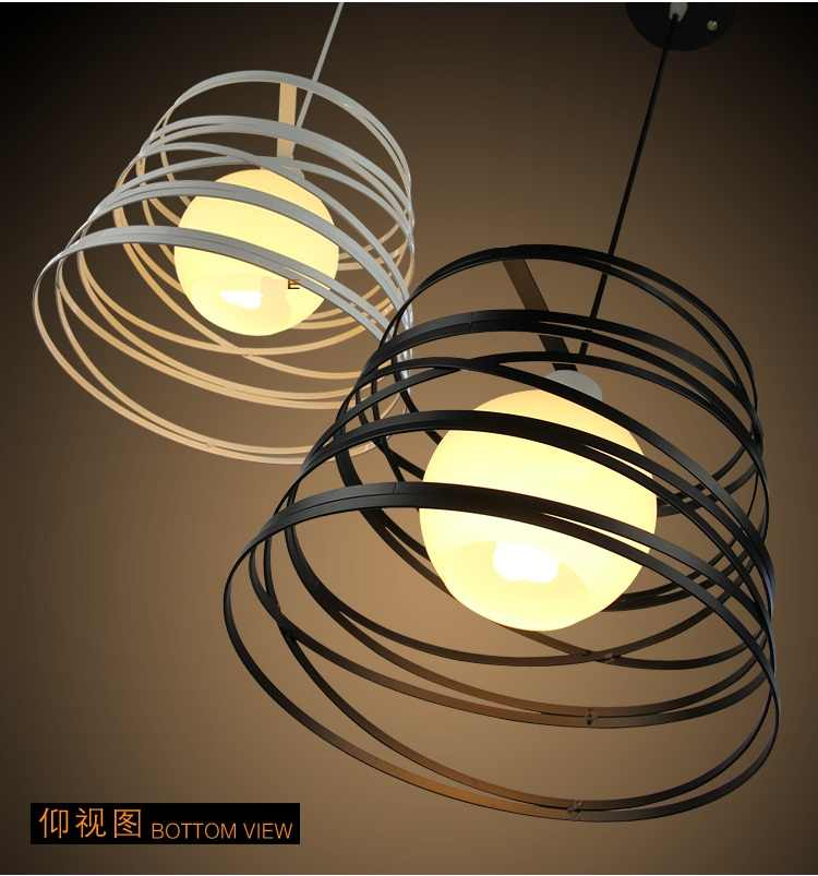 Простой железный спиральный кулон свет лампы тенты 32 см черный/белый для кухни остров столовой украшения ресторана