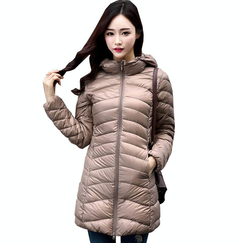 White Duck   Down   Women Winter   down   jacket female Slim Hooded Long   Down     Coat   Portable Plus Size Ultra Light   Down   Parkas QH1246