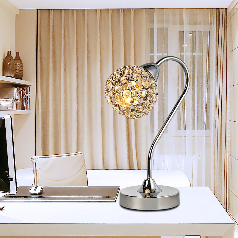 small size modern crystal insert ball polish chrome base bedroom table lamp creative elegant study room - Bedroom Table Lamps
