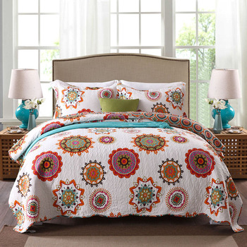 CHAUSUB Quality Cotton Bedspread Quilt Set 3pcs Coverlet Printed Quilts Quilted Bed Cover Pillowcase King Size Blanket